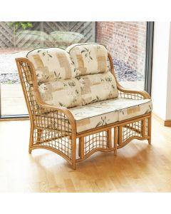 Bali 2 Seater Cane and Square Lattice Conservatory Sofa - Harrogate Natural