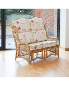 Bali 2 Seater Cane and Square Lattice Conservatory Sofa - High Back Poppies Stone