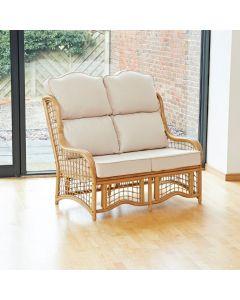 Bali 2 Seater Cane and Square Lattice Conservatory Sofa - High Back Premium Cream