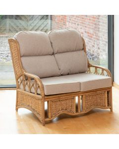 Penang 2 Seater Cane and Woven Sea Grass Conservatory Sofa - Arran Natural