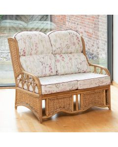 Penang 2 Seater Cane and Woven Sea Grass Conservatory Sofa - Wild Flower Heather