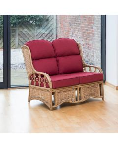 Penang 2 Seater Cane and Woven Sea Grass Conservatory Sofa -  Premium Chilli