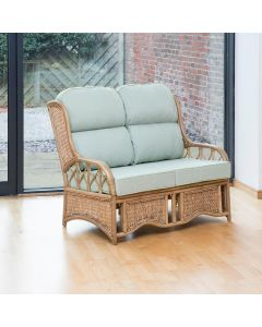 Penang 2 Seater Cane and Woven Sea Grass Conservatory Sofa -  Premium Sage