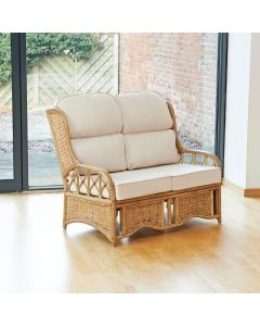 Penang 2 Seater Cane and Woven Sea Grass Conservatory Sofa -  Premium Cream