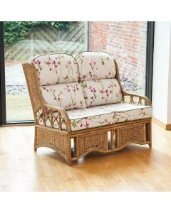Penang 2 Seater Cane and Woven Sea Grass Conservatory Sofa - Blossom Chintz