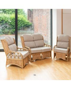 Penang Cane and Woven Sea Grass Conservatory Furniture Set - Arran Natural
