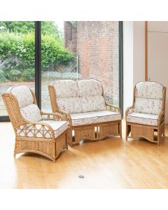 Penang Cane and Woven Sea Grass Conservatory Furniture Set - Wild Flower Heather