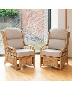 2 Penang Cane and Woven Sea Grass Conservatory Armchairs - Arran Natural