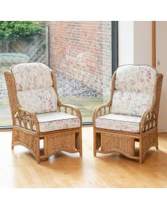 2 Penang Cane and Woven Sea Grass Conservatory Armchairs - Wild Flower Heather