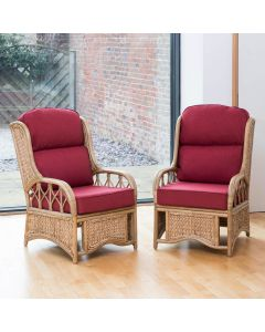 2 Penang Cane and Woven Sea Grass Conservatory Armchairs -  Premium Chilli