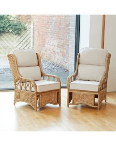 2 Penang Cane and Woven Sea Grass Conservatory Armchairs -  Premium Cream