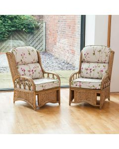 2 Penang Cane and Woven Sea Grass Conservatory Armchairs - Blossom Chintz