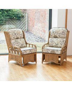 2 Penang Cane and Woven Sea Grass Conservatory Armchairs - Bamboo Natural