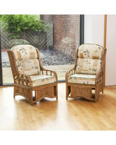 2 Penang Cane and Woven Sea Grass Conservatory Armchairs - Harrogate Natural