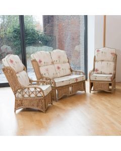 Penang Cane and Woven Sea Grass Conservatory Furniture Set - High Back Poppies Stone