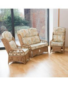 Penang Cane and Woven Sea Grass Conservatory Furniture Set - High Back Harrogate Natural