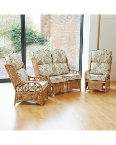 Penang Cane and Woven Sea Grass Conservatory Furniture Set - High Back Bamboo Natural