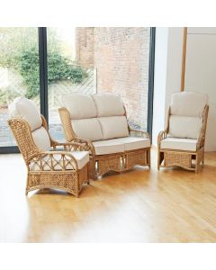 Penang Cane and Woven Sea Grass Conservatory Furniture Set - High Back Premium Cream