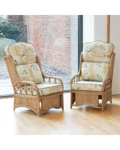 2 Penang Cane and Woven Sea Grass Conservatory Armchairs - High Back Harrogate Natural