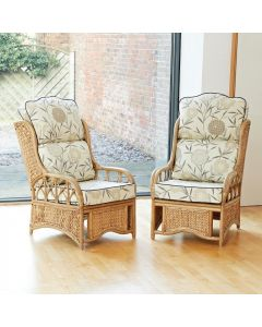 2 Penang Cane and Woven Sea Grass Conservatory Armchairs - High Back Bamboo Natural