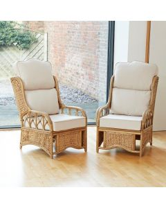 2 Penang Cane and Woven Sea Grass Conservatory Armchairs - High Back Premium Cream