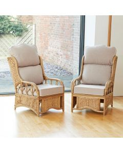 2 Penang Cane and Woven Sea Grass Conservatory Armchairs - High Back Premium Linen