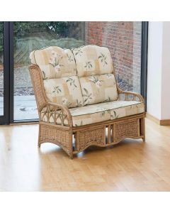 Penang 2 Seater Cane and Woven Sea Grass Conservatory Sofa - High Back Harrogate Natural
