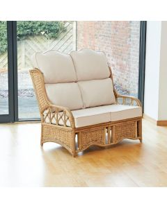 Penang 2 Seater Cane and Woven Sea Grass Conservatory Sofa - High Back Premium Cream