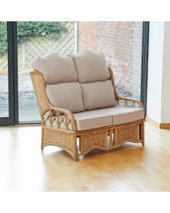 Penang 2 Seater Cane and Woven Sea Grass Conservatory Sofa - High Back  Premium Linen