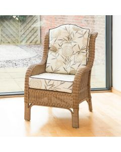 Denver Wicker Reading Chair with Button-Back Bamboo Natural Cushion
