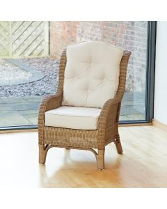 Denver Wicker Reading Chair with Button-Back Premium Cream Cushion