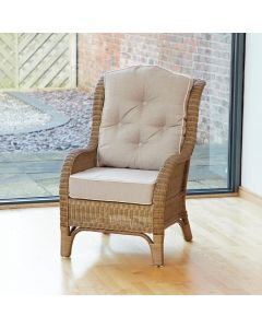 Denver Wicker Reading Chair with Button-Back Premium Linen Cushion