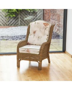 Denver Wicker Reading Chair with Button-Back Poppies Stone Cushion