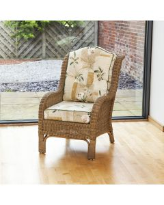Denver Wicker Reading Chair with Button-Back Harrogate Natural Cushion