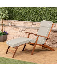 Wooden Steamer Deck Chair with Luxury Cushion (Taupe)