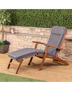 Wooden Steamer Deck Chair with Luxury Cushion (Grey)