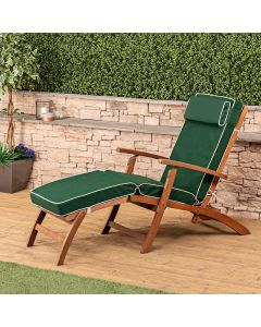 Wooden Steamer Deck Chair with Luxury Cushion (Green)
