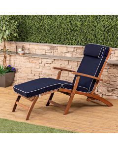 Wooden Steamer Deck Chair with Luxury Cushion (Navy Blue)