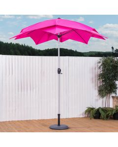 2.5M Lotus Wind Up Garden Parasol (Magenta)