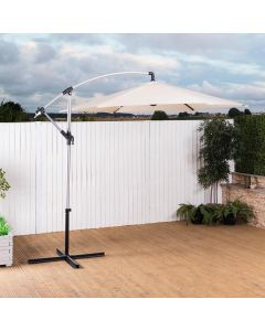 2.7m Cantilever Wind Up Garden Parasol (Natural)