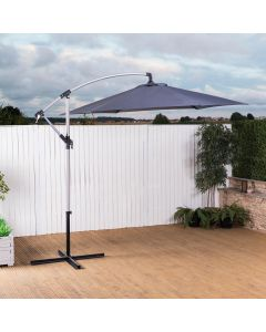 2.7m Cantilever Wind Up Garden Parasol (Grey)