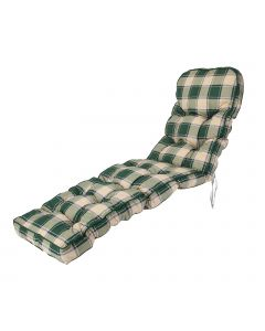 Classic Sun Lounger Cushion in Green Check