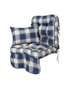 Single Classic Garden Swing Seat Cushion - Blue Check