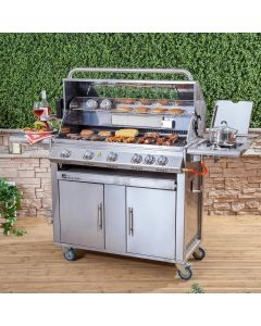 Premier Stainless Steel 6 Burner Gas Barbecue with Window