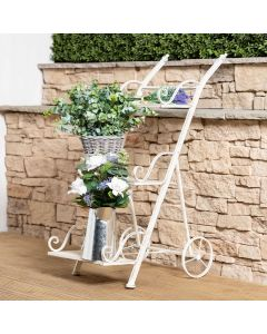 Wrought Iron Decorative Ladder Flower Stand