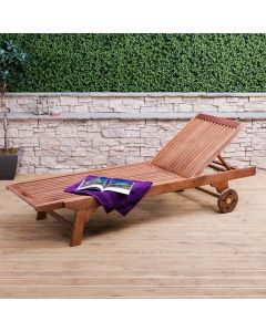 Wooden Sun Lounger with Wheels