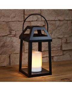 26cm Solar Powered Iron Lantern with Flickering Flame Candle