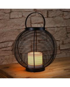29.8cm Solar Power Sphere Lantern with Flickering Flame Candle