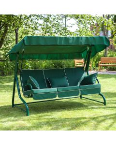 3 Seater Green Swing Seat with Luxury Cushions